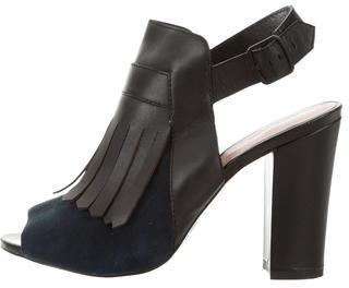 Pour La Victoire Suede Fringe Sandals $125 thestylecure.com