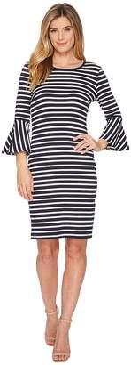 Karen Kane Flare Sleeve Stripe Dress Women's Dress