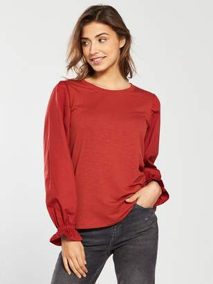 Very Cotton Rounded Sleeve Top - Rust
