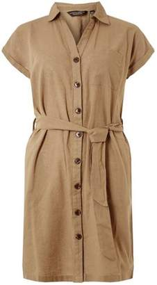 Dorothy Perkins Womens Khaki Linen Shirt Dress