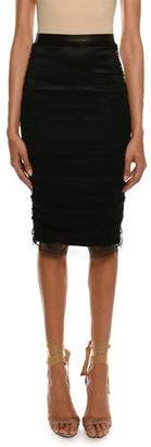 Tom Ford Satin Pencil Skirt with Shirred Tulle Overlay