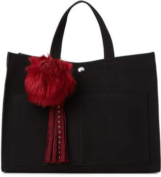 At Century 21 Imoshion Black Pom Faux Suede Satchel