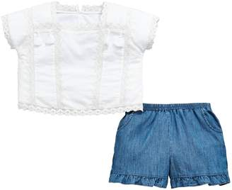 Very Girls White Tassel Blouse & Frill Short Outfit