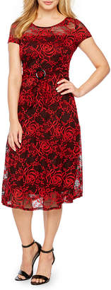Perceptions Short Sleeve Floral A-Line Dress-Petite