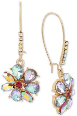 Betsey Johnson Gold-Tone Multi-Stone Flower Drop Earrings