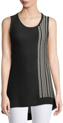 Donna Karan Sleeveless Side-Striped Sweater