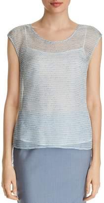 BOSS Ittop Printed Cap-Sleeve Silk Top
