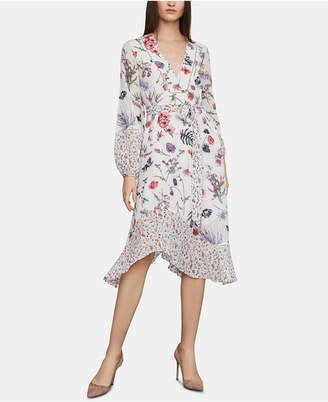 BCBGMAXAZRIA Mixed-Print A-Line Dress