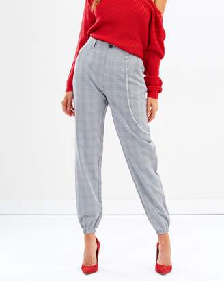 Missguided Fashion Check Chain Detail Cargo Trousers