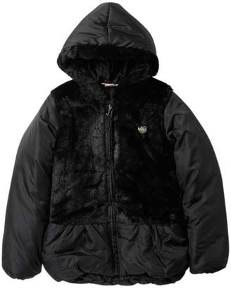 Juicy Couture Black Faux Fur Trimmed Puffer Jacket (Big Girls)