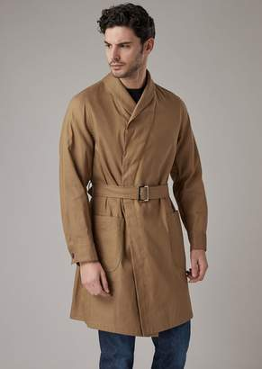 Giorgio Armani Water Repellent Linen Blend Straw Trench Coat Washed In Garment