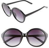 Quay x Benefit Tinted Love 55mm Round Sunglasses