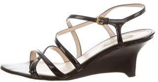 pradaPrada Patent Leather Wedge Sandals