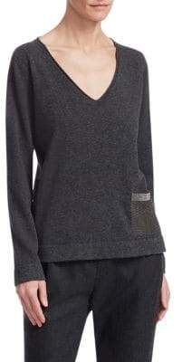 Fabiana Filippi Snakeskin Pocket Cashmere Sweater