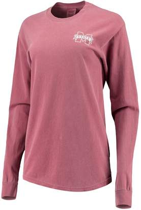 Unbranded Women's Maroon Mississippi State Bulldogs Comfort Colors Campus Skyline Long Sleeve Oversized T-Shirt