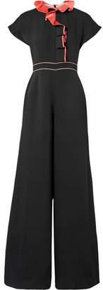 Roksanda Tristan Ruffled Silk-georgette Jumpsuit - Black