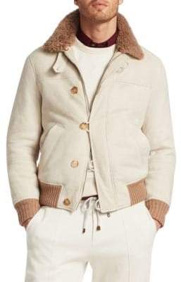 Brunello Cucinelli Suede& Shearling Pilot Jacket