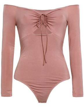 Alexander Wang Off-the-shoulder Cutout Ruched Stretch-modal Jersey Bodysuit