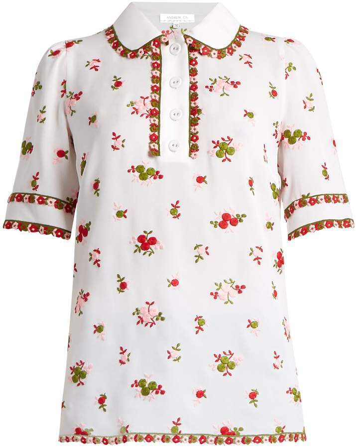 Andrew Gn ANDREW GN Floral-embroidered silk-blend polo shirt