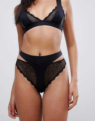 Asos DESIGN bonded lace high leg thong