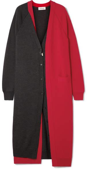 Embellished Layered Two-tone Wool Cardigan - small