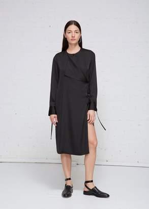 Low Classic Satin Wrap Shirt Dress
