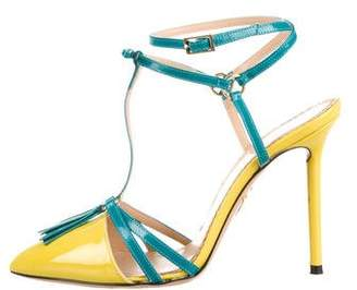 Charlotte Olympia Leather T-Strap Pumps