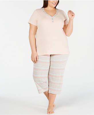 Charter Club Plus-Size Knit Cotton Short-Sleeve Top & Capri Pajama Pants Set