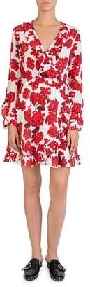 The Kooples Silk Hortensia-Print Ruffled Wrap Dress