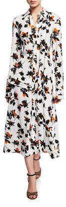 Derek Lam Floating Floral Long-Sleeve Dress