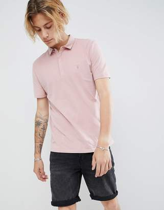 AllSaints Polo Shirt In Peached Cotton