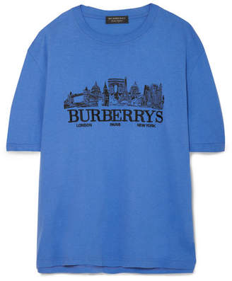 Burberry Oversized Embroidered Cotton-jersey T-shirt - Blue