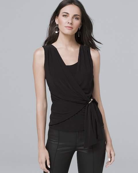 Whbm Sleeveless Draped-Side Knit Top