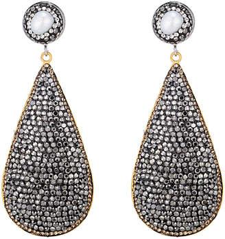Eye Candy Los Angeles Amanda Hematite & Pearl Drop Earrings
