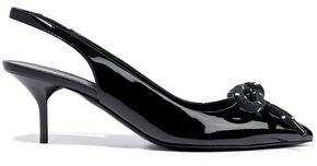 Burberry Bow-embellished Patent-leather Slingback Pumps