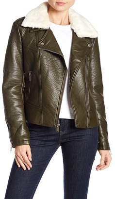 French Connection Faux Fur Trim Leather Jacket