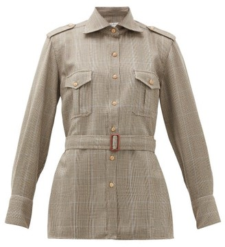 Giuliva Heritage Collection The Aurora Belted Checked Wool Shirt - Womens - Brown Multi