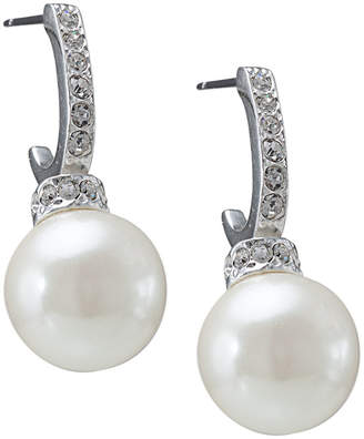 Carolee Earrings, Pave Crystal Hoop and Pearl Drop