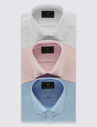 Marks and Spencer 3 Pack Cotton Blend Regular Fit Shirts