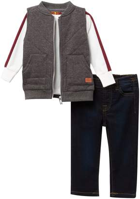 7 For All Mankind Quilted Vest 3-Piece Set (Baby Boys)