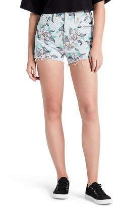 Levi's 501(R) Floral Embroidered High Waist Cutoff Denim Shorts