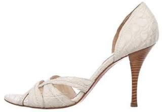 Sergio Rossi Crocodile Round-Toe Sandals