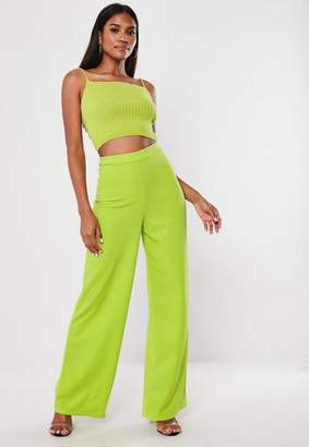 Missguided Lime Stretch Crepe Wide Leg Pants