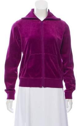 Burberry Velour Zip Front Jacket