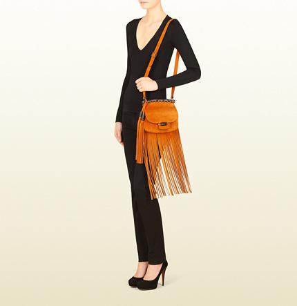 Gucci Nouveau Fringe Suede Shoulder Bag