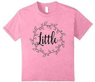 Little Sister Sorority Matching Floral Wreath T-Shirt Black