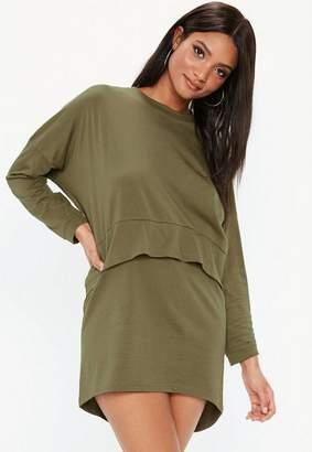 Missguided Khaki Oversized Jersey Overlay T-Shirt Dress