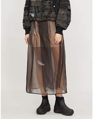 QUETSCHE Pleated-panel silk-organza midi skirt