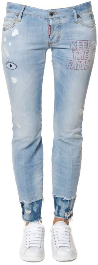 Flare Embroidered Denim Jeans