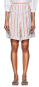 Thierry Colson Women's Simbad Striped Silk Bermuda Shorts-Red, Heaven blue